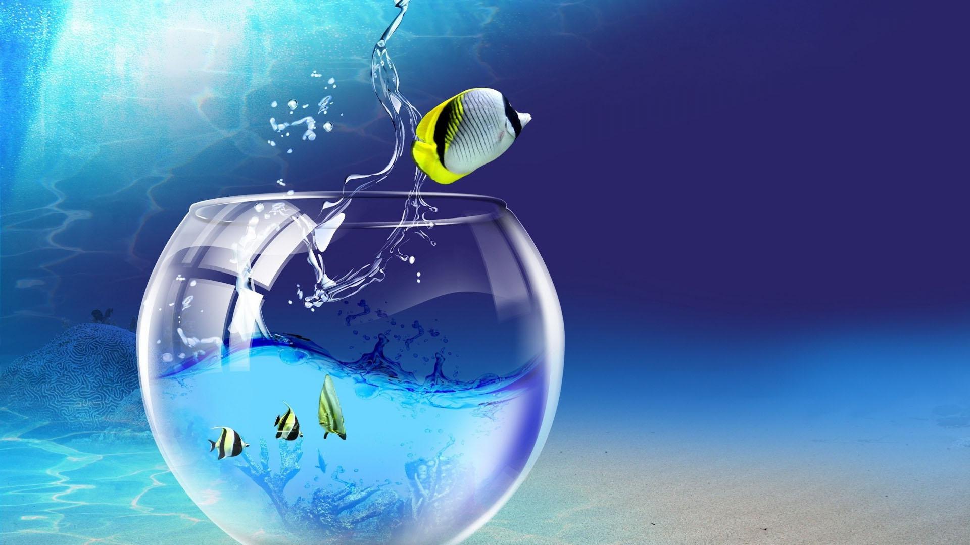 Обои подводный аквариум для рабочего