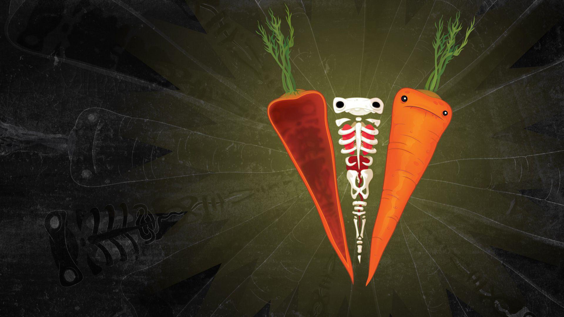 Абстракционизм морковка на черном фоне