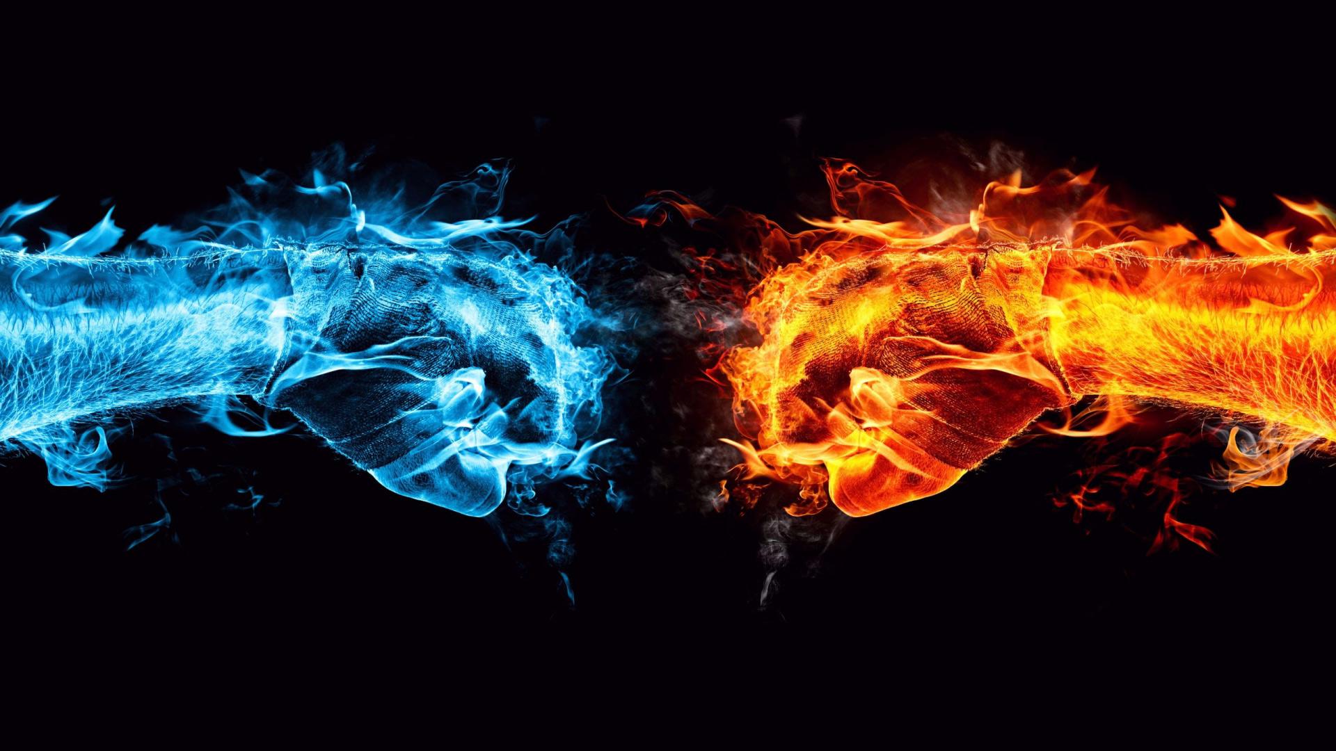 Обои огонь против воды для рабочего