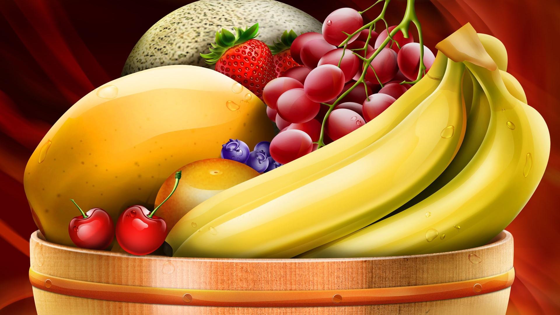 """Схема вышивки  """"Чаша с фруктами """".  Вышивка крестом.  190x119 крестов * 48 цветов * Теги: натюрморт, фрукты, банан..."""