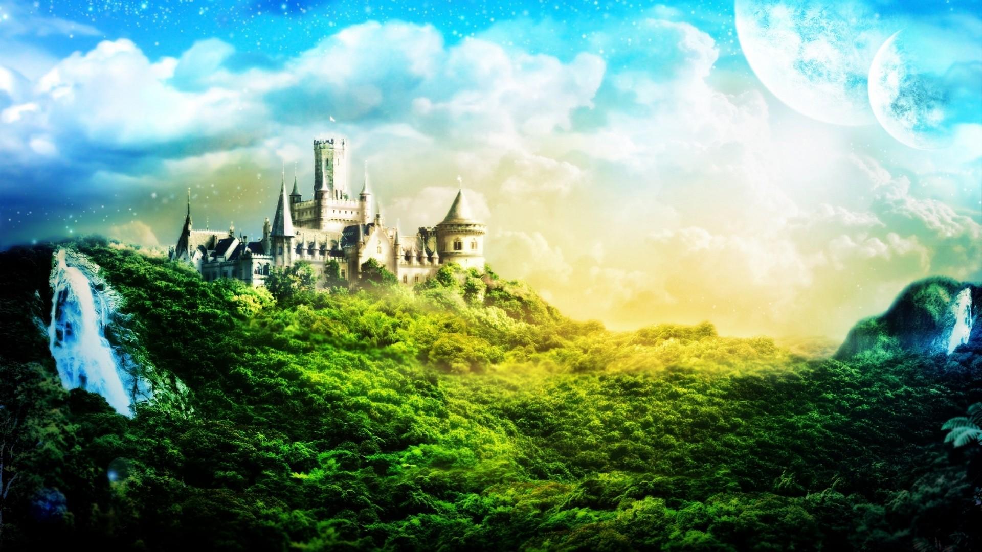 Обои замок в дремучем лесу для