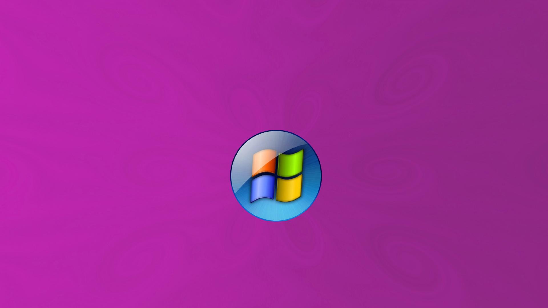 Обои фиолетовые завитки логотип windows