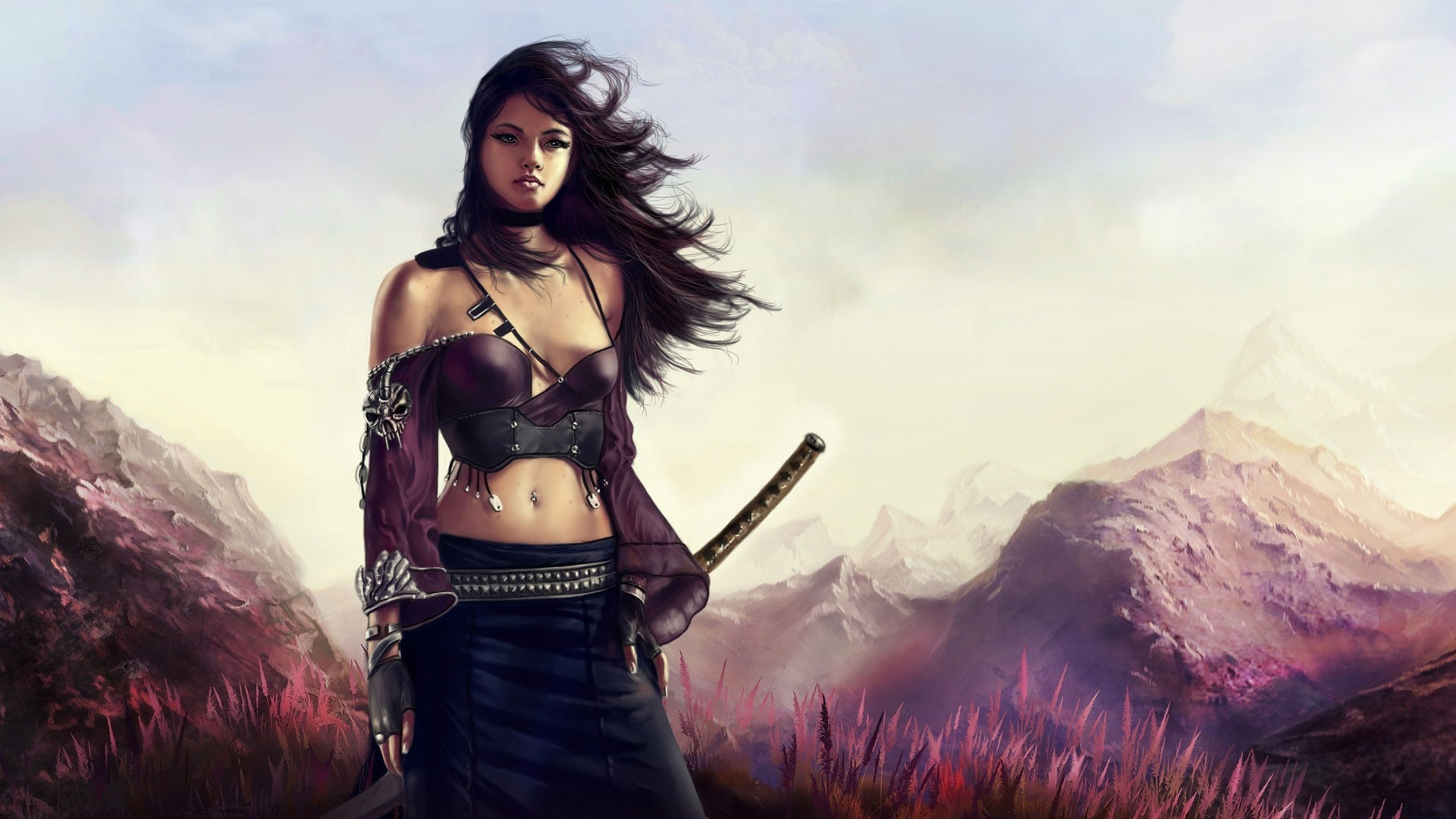 Обои Девушка-воин в горах, картинки - Обои для рабочего ... Девушка с Катаной