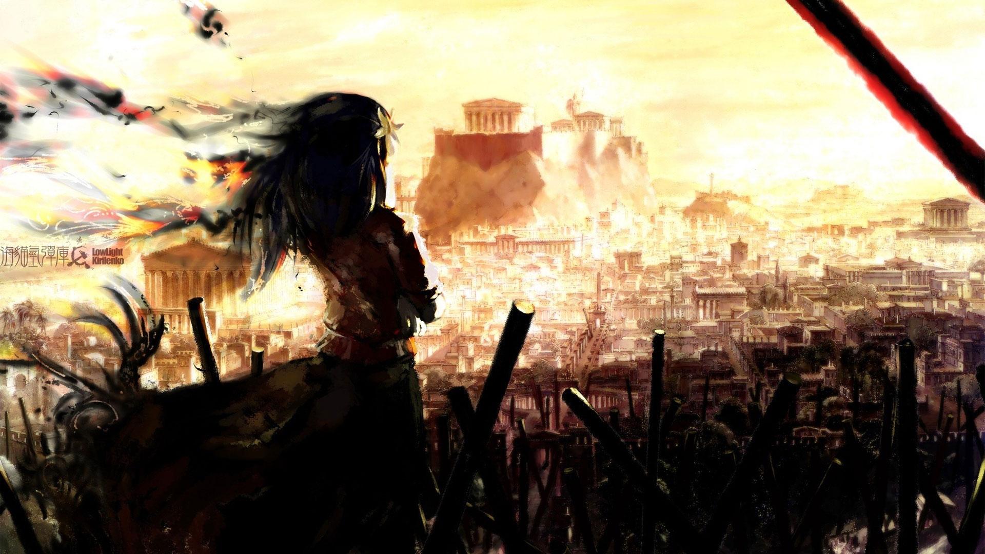 Девушка на фоне разрушенного города