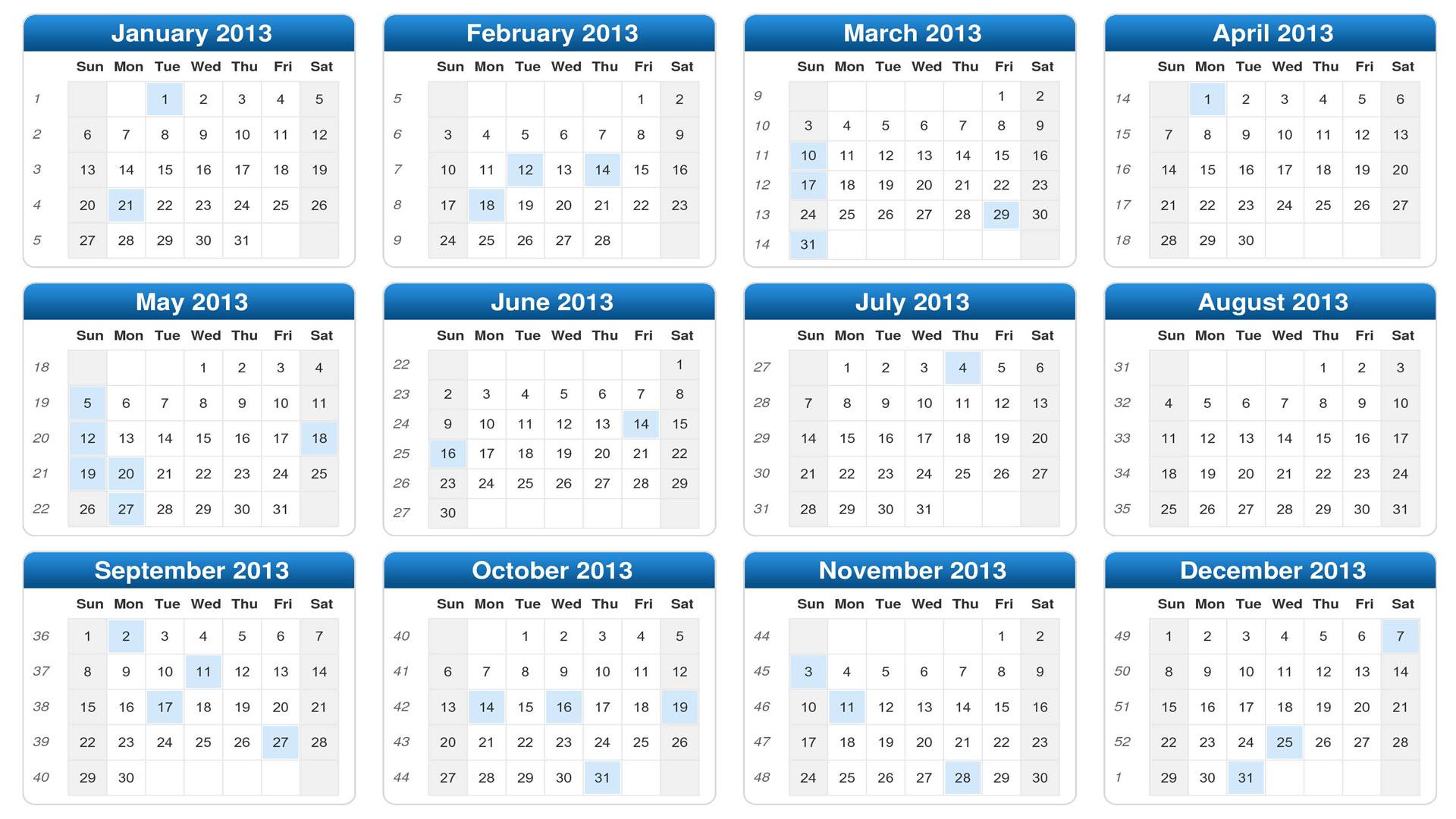Обои календарь 2013 календарь на 2013 год