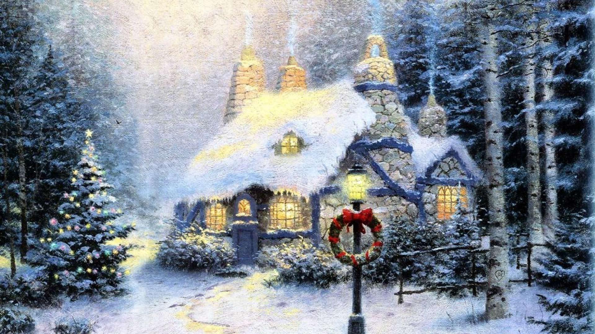 В лесу зимний пейзаж дом в лесу