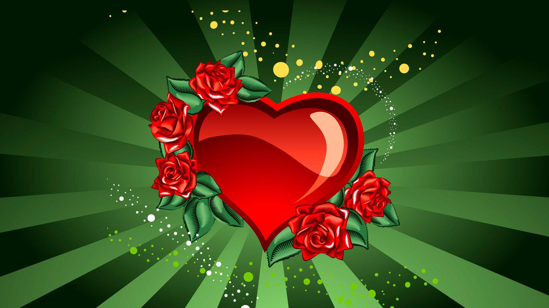 Обои сердце с розами красное сердце с