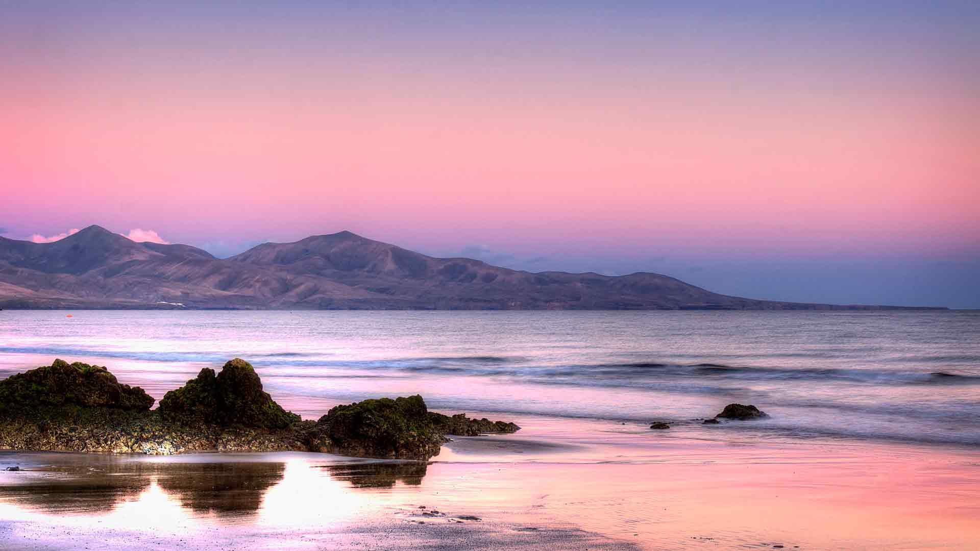 Обои тёплое море розовый закат в море