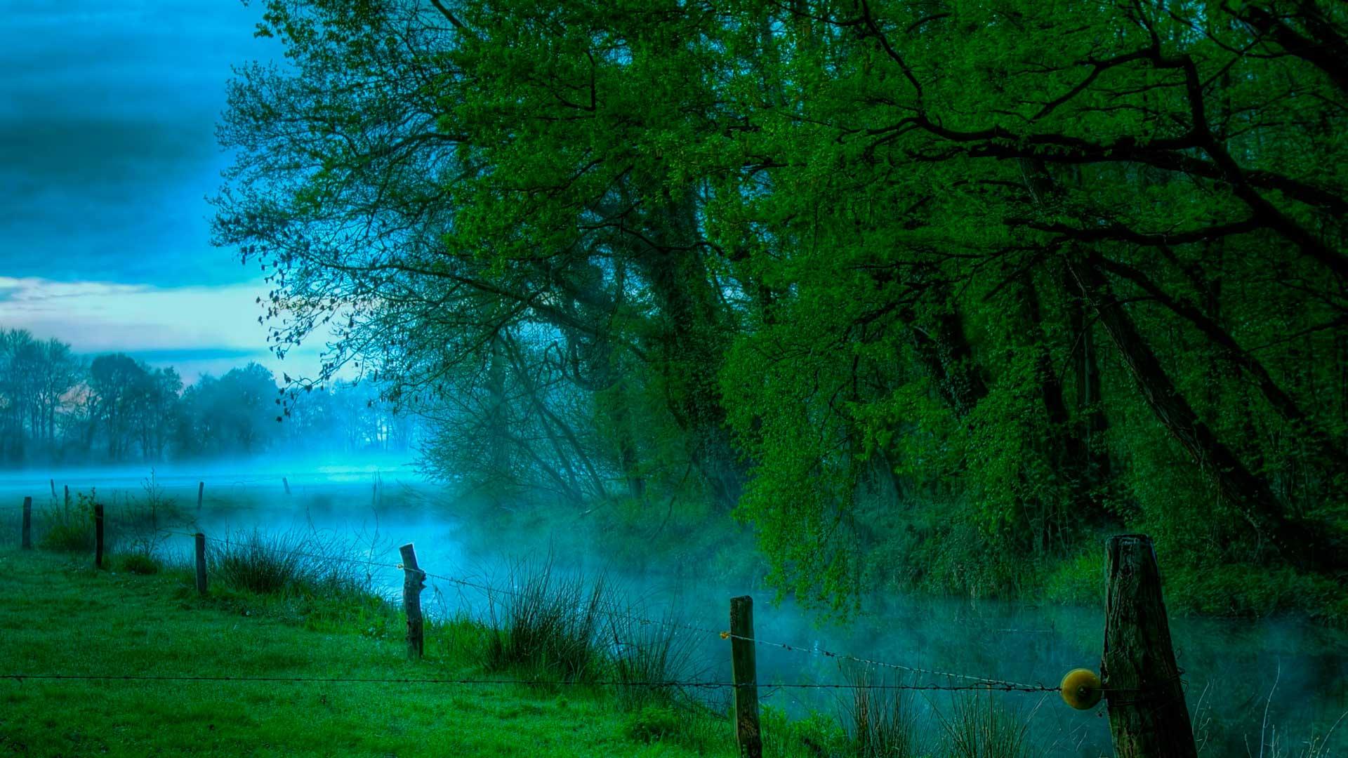 Обои яркий пейзаж зеленый пейзаж в