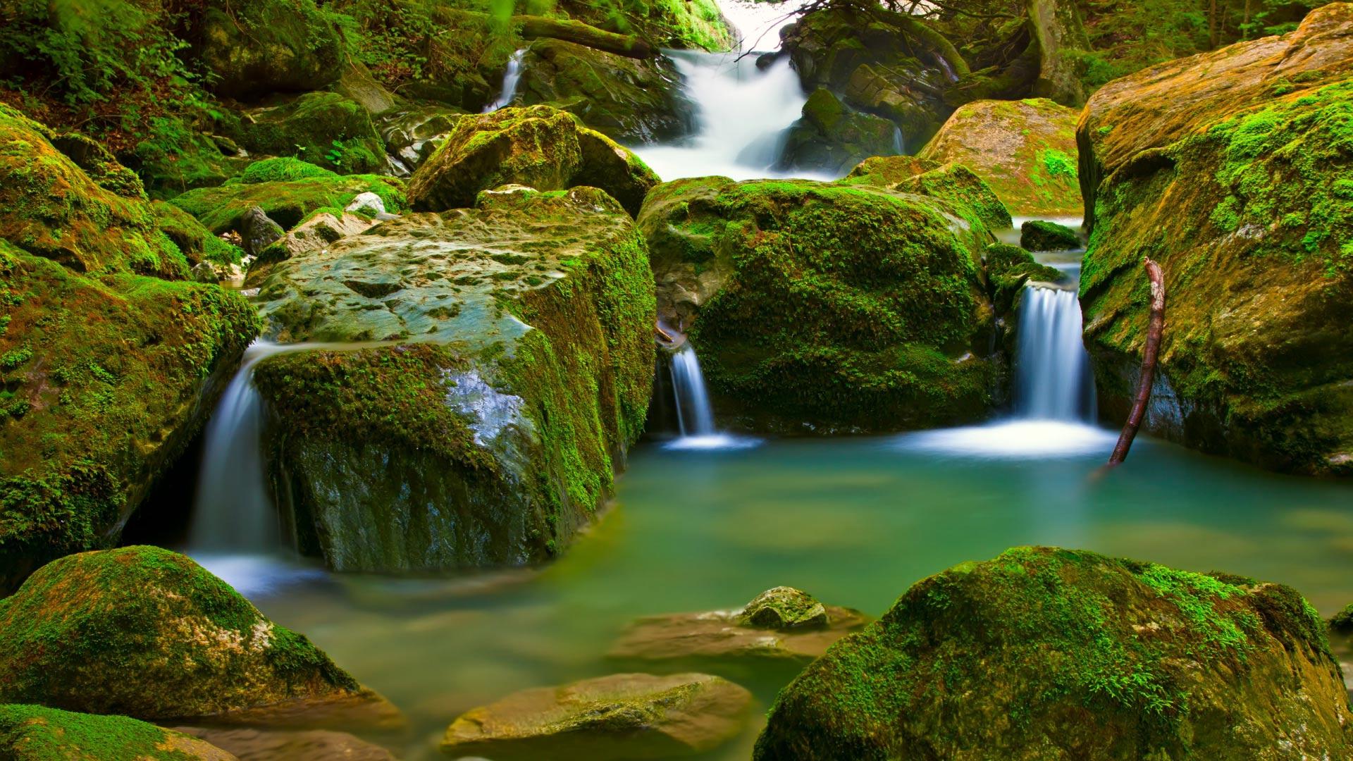 Удивительный водопад beautiful mountain waterfall