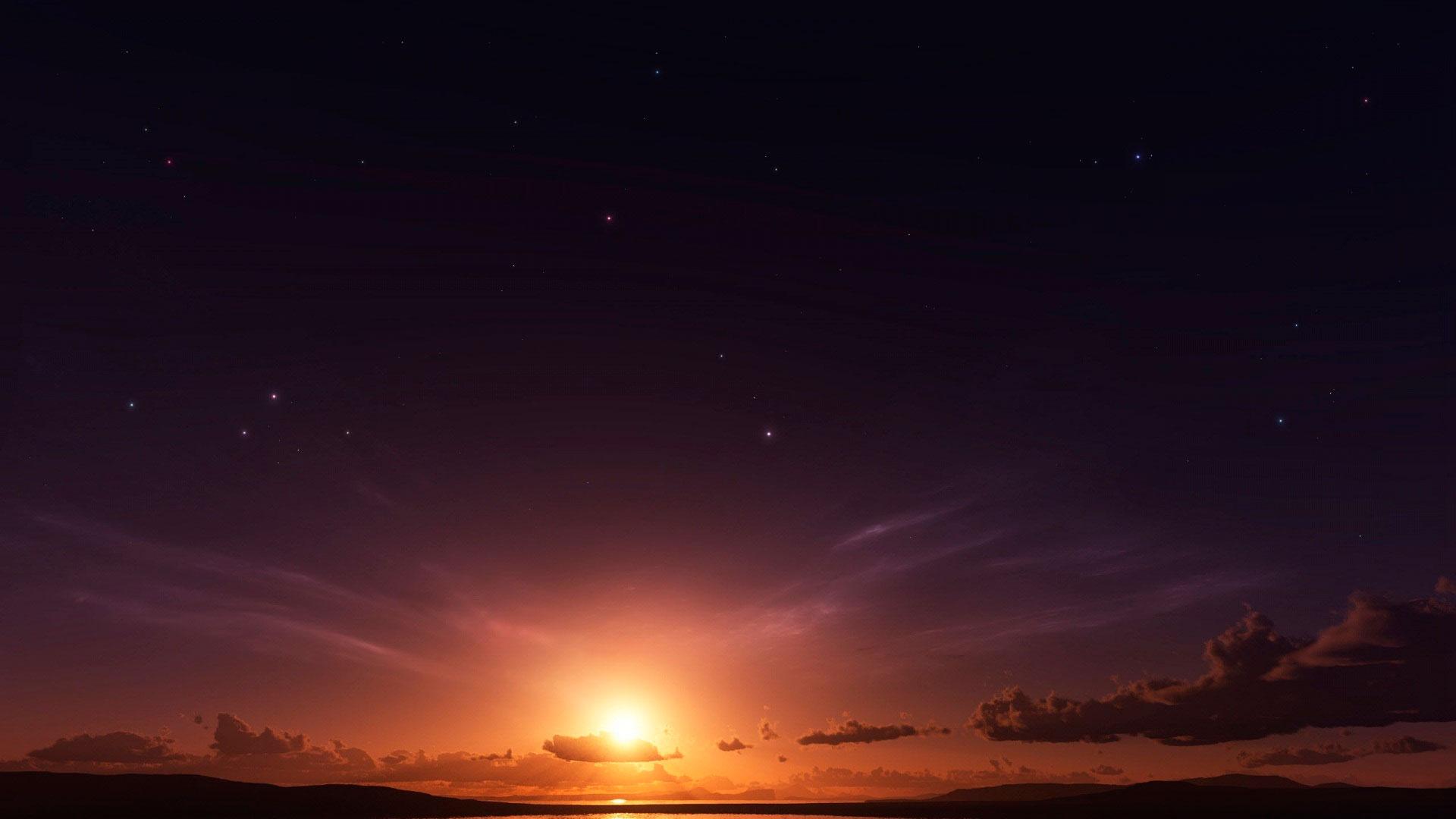 Закате звездное небо при закате на