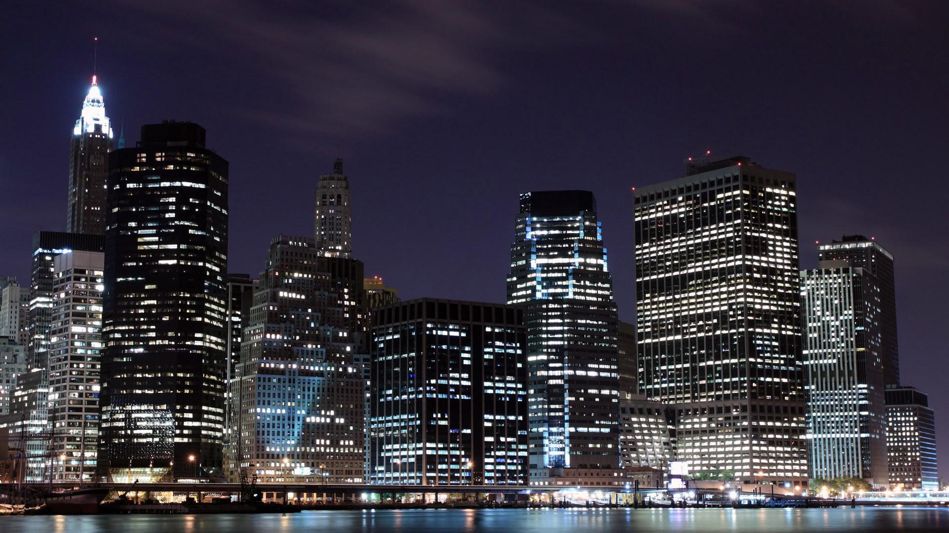 Широкоформатные обои нью йорк в ночи